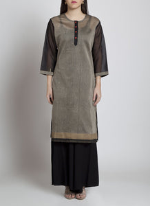 Beige block print kurta Kurta Sonal Kabra Sonal Kabra Buy Shop online premium luxury fashion clothing natural fabrics sustainable organic hand made handcrafted artisans craftsmen