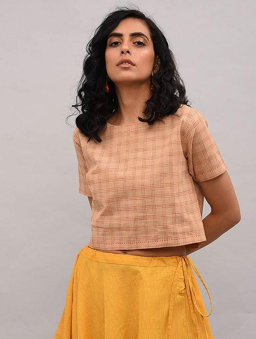 Beige Checkered Cotton Top Top The Neem Tree Sonal Kabra Buy Shop online premium luxury fashion clothing natural fabrics sustainable organic hand made handcrafted artisans craftsmen