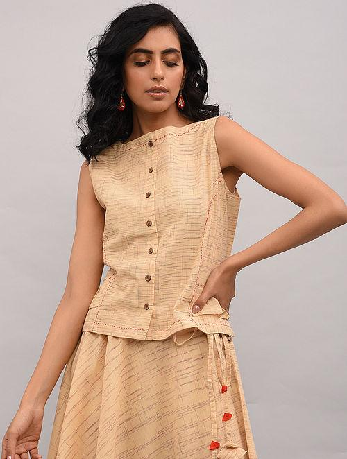 Beige Cotton Top Top The Neem Tree Sonal Kabra Buy Shop online premium luxury fashion clothing natural fabrics sustainable organic hand made handcrafted artisans craftsmen