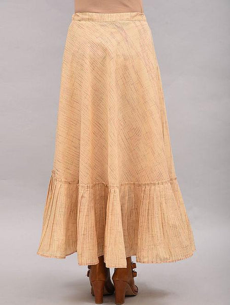 Beige Striped Cotton Skirt Skirt The Neem Tree Sonal Kabra Buy Shop online premium luxury fashion clothing natural fabrics sustainable organic hand made handcrafted artisans craftsmen