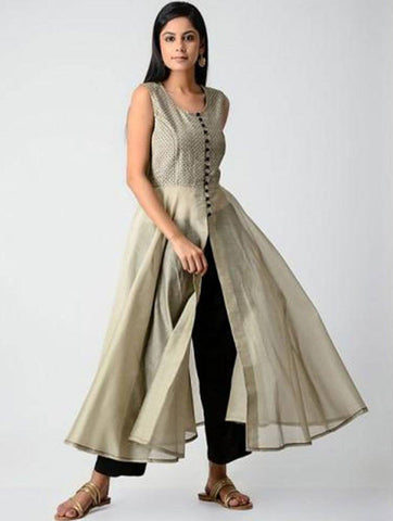Beige Umbrella dress Kurta Sonal Kabra Sonal Kabra Buy Shop online premium luxury fashion clothing natural fabrics sustainable organic hand made handcrafted artisans craftsmen