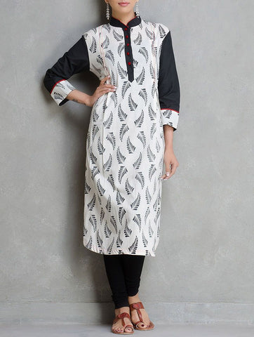 Black and white print kurta Kurta The Neem Tree Sonal Kabra Buy Shop online premium luxury fashion clothing natural fabrics sustainable organic hand made handcrafted artisans craftsmen