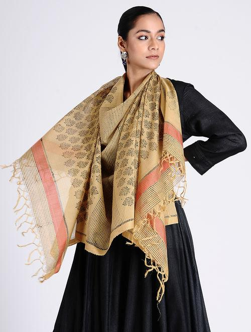 Black beige block printed stole Sarees & Stoles The Neem Tree Sonal Kabra Buy Shop online premium luxury fashion clothing natural fabrics sustainable organic hand made handcrafted artisans craftsmen