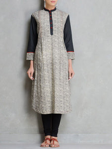 Black beige kurta Kurta The Neem Tree Sonal Kabra Buy Shop online premium luxury fashion clothing natural fabrics sustainable organic hand made handcrafted artisans craftsmen