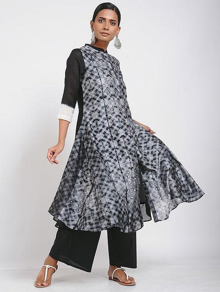 Black cluster shibori kurta (Set of 2) Jacket dress Sonal Kabra Sonal Kabra Buy Shop online premium luxury fashion clothing natural fabrics sustainable organic hand made handcrafted artisans craftsmen