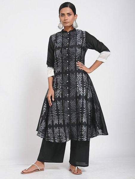 Black flower dress (Set of 2) Jacket dress Sonal Kabra Sonal Kabra Buy Shop online premium luxury fashion clothing natural fabrics sustainable organic hand made handcrafted artisans craftsmen