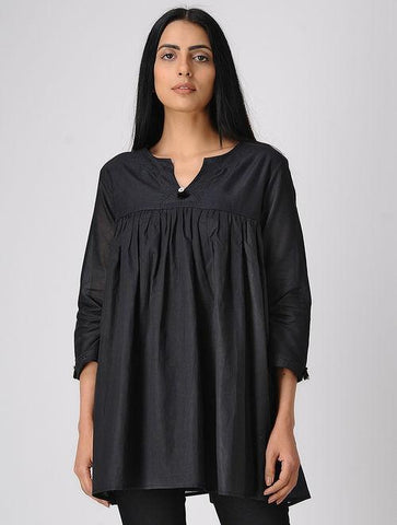 Black gather top Top The Neem Tree Sonal Kabra Buy Shop online premium luxury fashion clothing natural fabrics sustainable organic hand made handcrafted artisans craftsmen