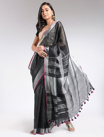 Black linen saree Sarees & Stoles The Neem Tree Sonal Kabra Buy Shop online premium luxury fashion clothing natural fabrics sustainable organic hand made handcrafted artisans craftsmen