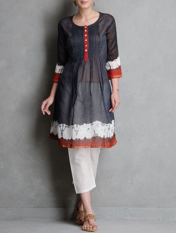 Black pin tuck dress Dress Sonal Kabra Sonal Kabra Buy Shop online premium luxury fashion clothing natural fabrics sustainable organic hand made handcrafted artisans craftsmen