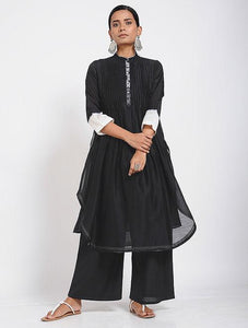 Black pintuck shibori kurta Kurta Sonal Kabra Sonal Kabra Buy Shop online premium luxury fashion clothing natural fabrics sustainable organic hand made handcrafted artisans craftsmen