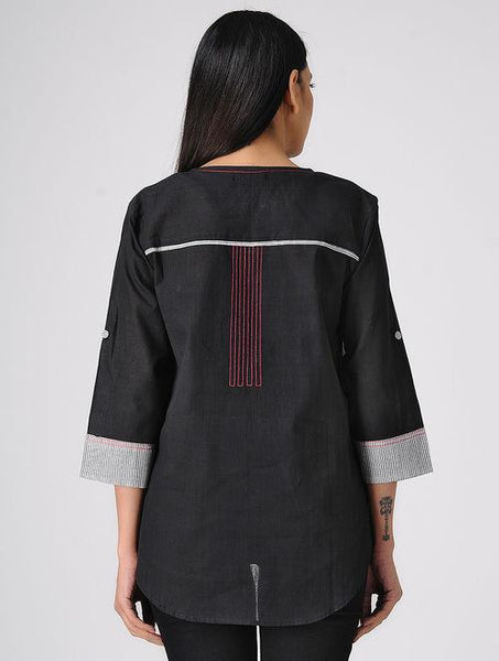 Black south cotton shirt Shirt The Neem Tree Sonal Kabra Buy Shop online premium luxury fashion clothing natural fabrics sustainable organic hand made handcrafted artisans craftsmen