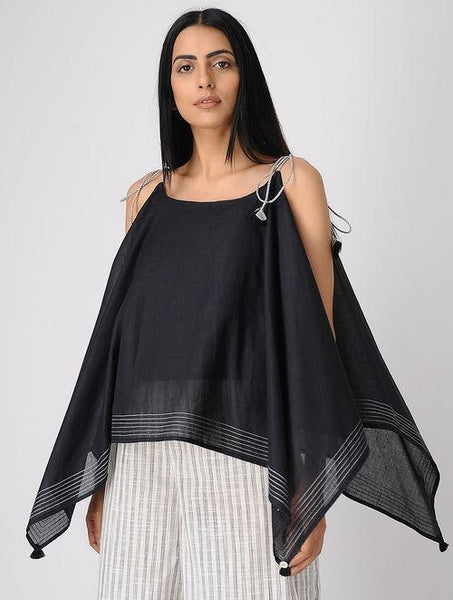 Black spaghetti top Top The Neem Tree Sonal Kabra Buy Shop online premium luxury fashion clothing natural fabrics sustainable organic hand made handcrafted artisans craftsmen