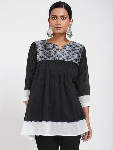Black & White Shibori Top Top Sonal Kabra Sonal Kabra Buy Shop online premium luxury fashion clothing natural fabrics sustainable organic hand made handcrafted artisans craftsmen