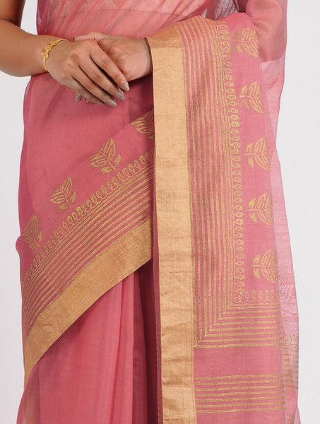Block printed chanderi saree Sarees & Stoles Sonal Kabra Sonal Kabra Buy Shop online premium luxury fashion clothing natural fabrics sustainable organic hand made handcrafted artisans craftsmen