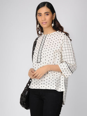Block printed cotton top Top The Neem Tree Sonal Kabra Buy Shop online premium luxury fashion clothing natural fabrics sustainable organic hand made handcrafted artisans craftsmen