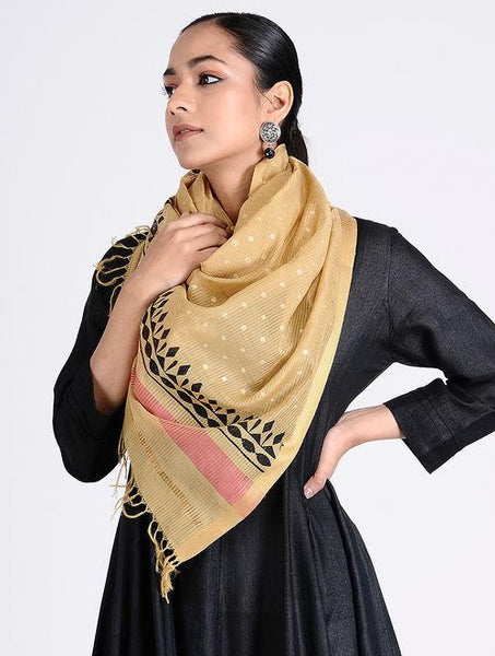 Block printed stole Sarees & Stoles The Neem Tree Sonal Kabra Buy Shop online premium luxury fashion clothing natural fabrics sustainable organic hand made handcrafted artisans craftsmen