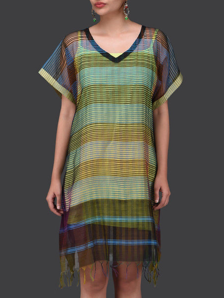 Blue black kaftan dress Dress Sonal Kabra Sonal Kabra Buy Shop online premium luxury fashion clothing natural fabrics sustainable organic hand made handcrafted artisans craftsmen
