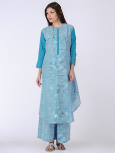 Blue high-low kurta Kurta The Neem Tree Sonal Kabra Buy Shop online premium luxury fashion clothing natural fabrics sustainable organic hand made handcrafted artisans craftsmen