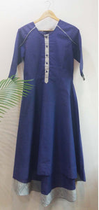 Blue high low long dress Dress The Neem Tree Sonal Kabra Buy Shop online premium luxury fashion clothing natural fabrics sustainable organic hand made handcrafted artisans craftsmen