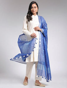 Blue linen dupatta Sarees & Stoles The Neem Tree Sonal Kabra Buy Shop online premium luxury fashion clothing natural fabrics sustainable organic hand made handcrafted artisans craftsmen