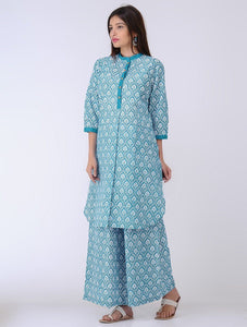 Blue lotus kurta Kurta The Neem Tree Sonal Kabra Buy Shop online premium luxury fashion clothing natural fabrics sustainable organic hand made handcrafted artisans craftsmen