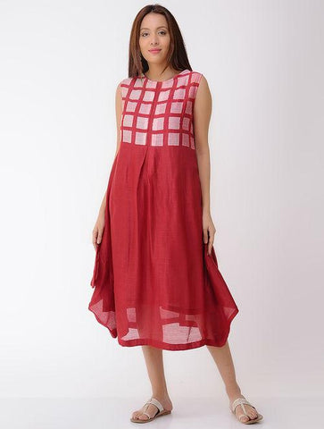 Box pleat dress Dress Sonal Kabra Sonal Kabra Buy Shop online premium luxury fashion clothing natural fabrics sustainable organic hand made handcrafted artisans craftsmen
