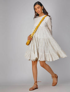 Breezy gather dress Dress The Neem Tree Sonal Kabra Buy Shop online premium luxury fashion clothing natural fabrics sustainable organic hand made handcrafted artisans craftsmen