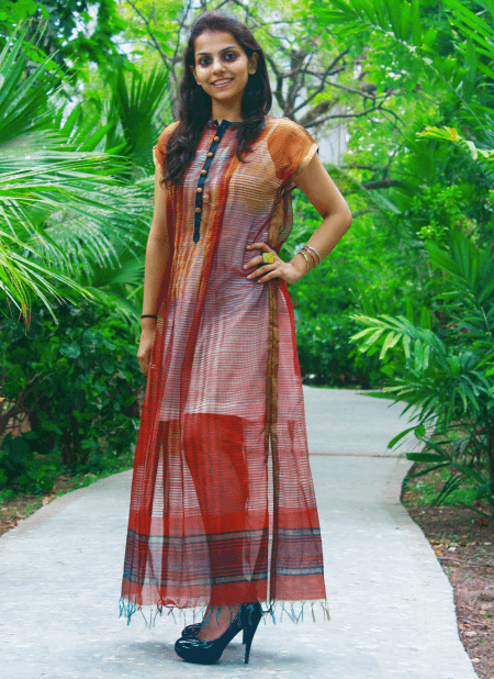 Brick red long dress Dress Sonal Kabra Sonal Kabra Buy Shop online premium luxury fashion clothing natural fabrics sustainable organic hand made handcrafted artisans craftsmen