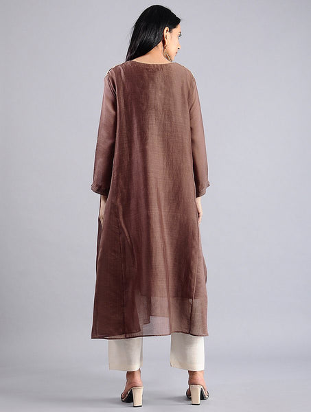 Brown shibori kali kurta (Set of 2) Kurta Sonal Kabra Sonal Kabra Buy Shop online premium luxury fashion clothing natural fabrics sustainable organic hand made handcrafted artisans craftsmen