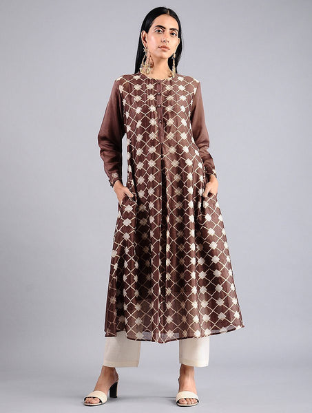 Brown shibori kurta (Set of 2) Kurta Sonal Kabra Sonal Kabra Buy Shop online premium luxury fashion clothing natural fabrics sustainable organic hand made handcrafted artisans craftsmen