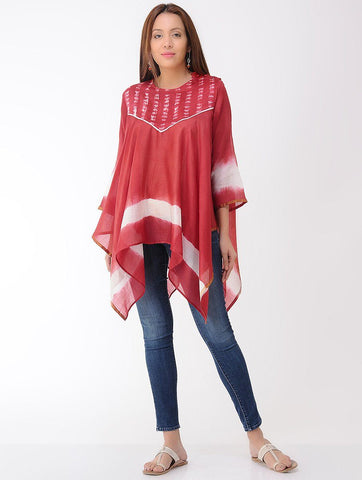 Chanderi drape top-Red Top Sonal Kabra Sonal Kabra Buy Shop online premium luxury fashion clothing natural fabrics sustainable organic hand made handcrafted artisans craftsmen