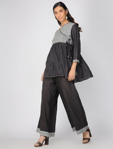 Charcoal angarakha top Top The Neem Tree Sonal Kabra Buy Shop online premium luxury fashion clothing natural fabrics sustainable organic hand made handcrafted artisans craftsmen