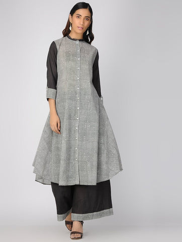 Charcoal jacket dress Jacket dress Sonal Kabra Sonal Kabra Buy Shop online premium luxury fashion clothing natural fabrics sustainable organic hand made handcrafted artisans craftsmen