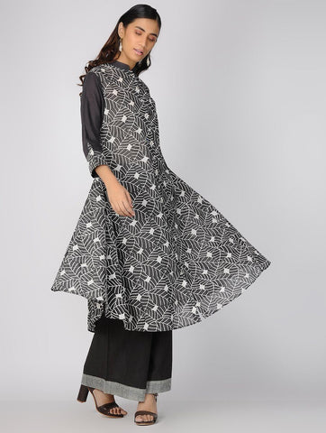 Charcoal leaf dress Jacket dress Sonal Kabra Sonal Kabra Buy Shop online premium luxury fashion clothing natural fabrics sustainable organic hand made handcrafted artisans craftsmen