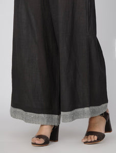 Charcoal palazzo Palazzo The Neem Tree Sonal Kabra Buy Shop online premium luxury fashion clothing natural fabrics sustainable organic hand made handcrafted artisans craftsmen