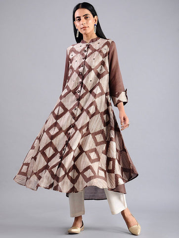 Diamond jacket dress in Brown (Set of 2) Jacket dress Sonal Kabra Sonal Kabra Buy Shop online premium luxury fashion clothing natural fabrics sustainable organic hand made handcrafted artisans craftsmen