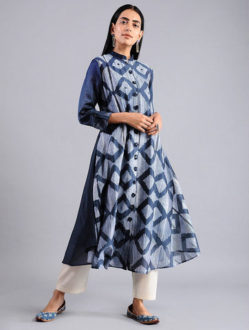 Diamond jacket dress in Indigo (Set of 2) Jacket dress Sonal Kabra Sonal Kabra Buy Shop online premium luxury fashion clothing natural fabrics sustainable organic hand made handcrafted artisans craftsmen