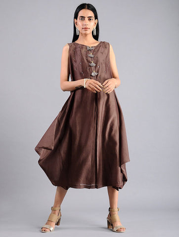 Drape dress - Brown (Set of 2) Dress Sonal Kabra Sonal Kabra Buy Shop online premium luxury fashion clothing natural fabrics sustainable organic hand made handcrafted artisans craftsmen