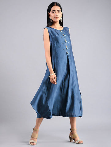 Drape dress - Indigo (Set of 2) Dress Sonal Kabra Sonal Kabra Buy Shop online premium luxury fashion clothing natural fabrics sustainable organic hand made handcrafted artisans craftsmen
