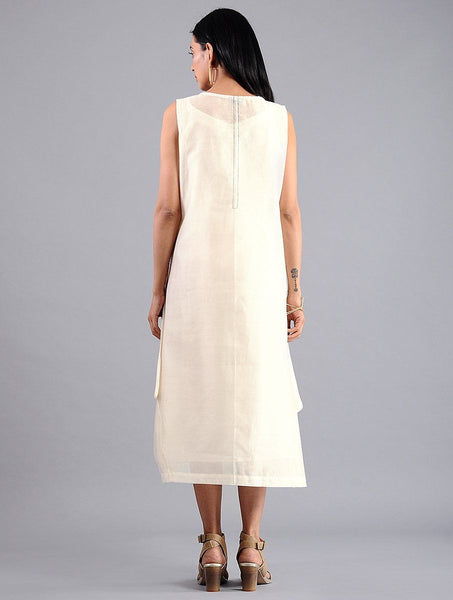Drape dress - Ivory (Set of 2) Dress Sonal Kabra Sonal Kabra Buy Shop online premium luxury fashion clothing natural fabrics sustainable organic hand made handcrafted artisans craftsmen