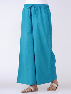 Drawstring palazzo - Blue Palazzo The Neem Tree Sonal Kabra Buy Shop online premium luxury fashion clothing natural fabrics sustainable organic hand made handcrafted artisans craftsmen