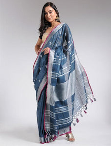 Embroidered blue linen saree Sarees & Stoles The Neem Tree Sonal Kabra Buy Shop online premium luxury fashion clothing natural fabrics sustainable organic hand made handcrafted artisans craftsmen
