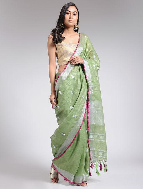 Embroidered olive linen saree Sarees & Stoles The Neem Tree Sonal Kabra Buy Shop online premium luxury fashion clothing natural fabrics sustainable organic hand made handcrafted artisans craftsmen