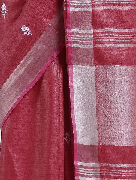Embroidered red linen saree Sarees & Stoles The Neem Tree Sonal Kabra Buy Shop online premium luxury fashion clothing natural fabrics sustainable organic hand made handcrafted artisans craftsmen