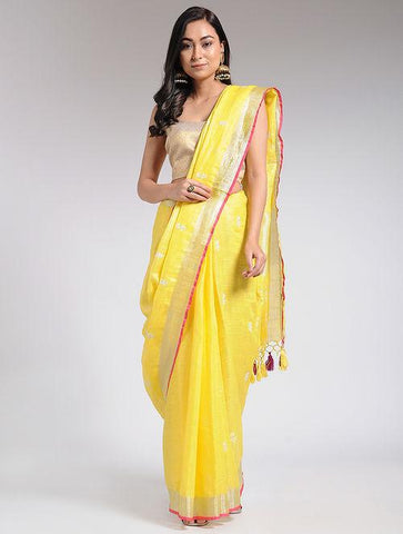 Embroidered yellow linen saree Sarees & Stoles The Neem Tree Sonal Kabra Buy Shop online premium luxury fashion clothing natural fabrics sustainable organic hand made handcrafted artisans craftsmen