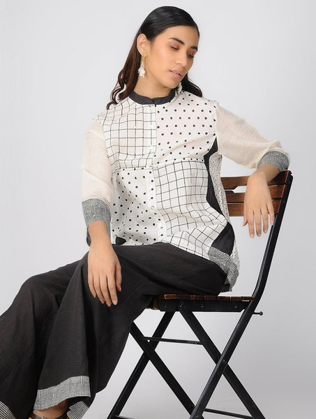 Flared cotton top Top The Neem Tree Sonal Kabra Buy Shop online premium luxury fashion clothing natural fabrics sustainable organic hand made handcrafted artisans craftsmen