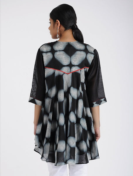 Flared Shibori top Top Sonal Kabra Sonal Kabra Buy Shop online premium luxury fashion clothing natural fabrics sustainable organic hand made handcrafted artisans craftsmen