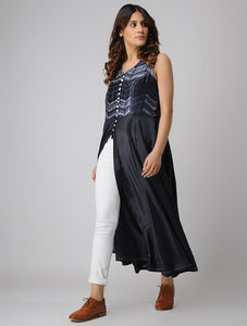 Front open kurta-Indigo Jacket dress Sonal Kabra Sonal Kabra Buy Shop online premium luxury fashion clothing natural fabrics sustainable organic hand made handcrafted artisans craftsmen