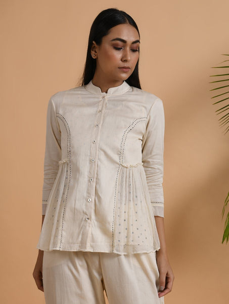 Gathered Khadi Shirt with Slip (Set of 2) Top The Neem Tree Sonal Kabra Buy Shop online premium luxury fashion clothing natural fabrics sustainable organic hand made handcrafted artisans craftsmen