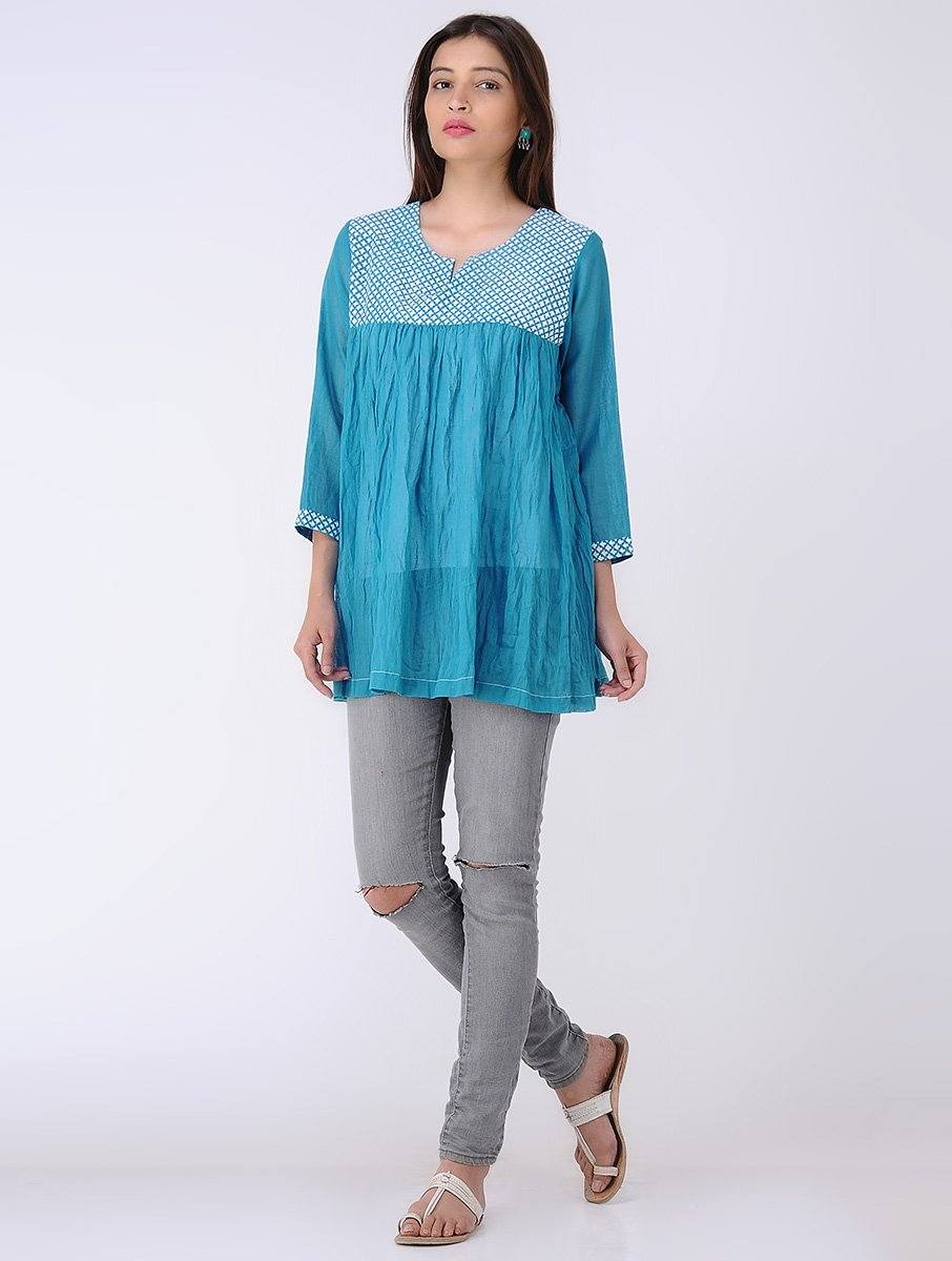 Gathered top - Blue Top The Neem Tree Sonal Kabra Buy Shop online premium luxury fashion clothing natural fabrics sustainable organic hand made handcrafted artisans craftsmen